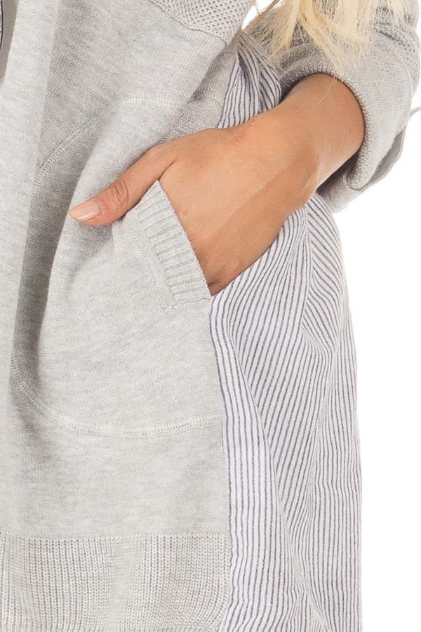 Heather Grey Cardigan with Striped Back Contrast detail