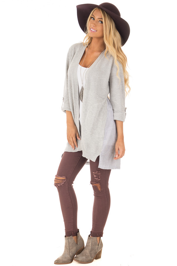 Heather Grey Cardigan with Striped Back Contrast front full body