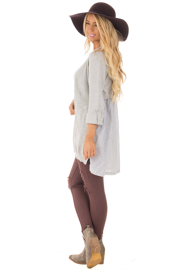 Heather Grey Cardigan with Striped Back Contrast side full body