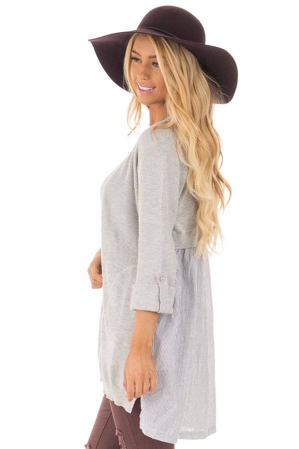 Heather Grey Cardigan with Striped Back Contrast side close up