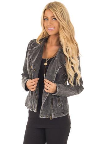 Mineral Wash Charcoal Moto Jacket with Asymmetrical Zipper front close up