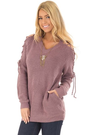 Mauve Knit Open Shoulder Sweater with Tie Detail front close up