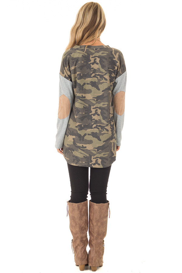 Camouflage Long Sleeve T-Shirt with Elbow Patches back full body