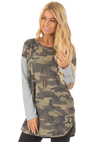 Camouflage Long Sleeve T-Shirt with Elbow Patches front close up