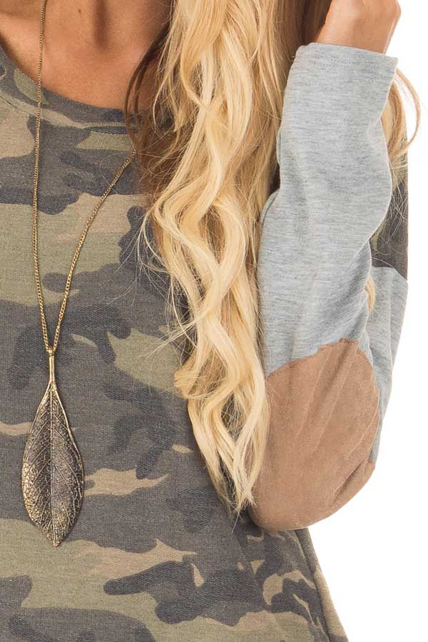 Camouflage Long Sleeve T-Shirt with Elbow Patches detail