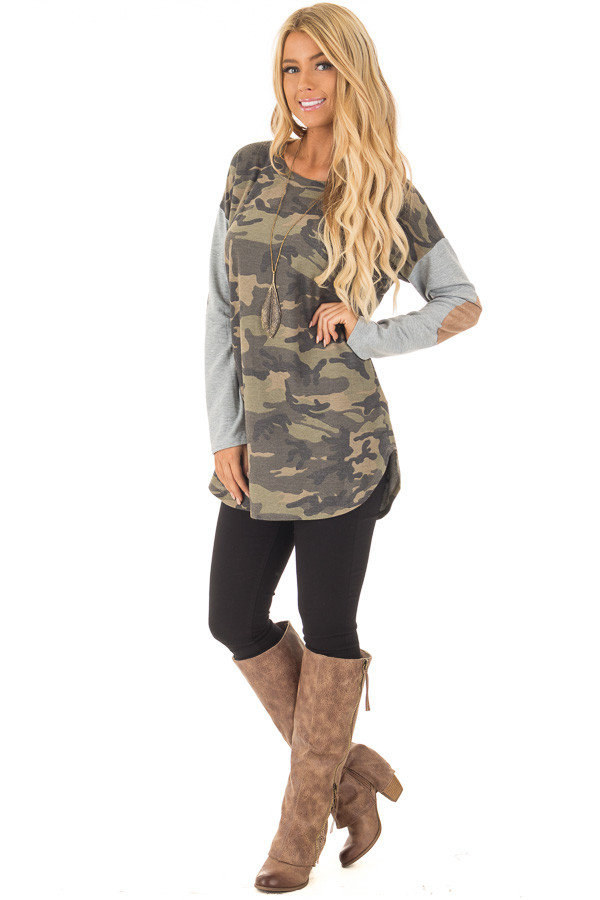 Camouflage Long Sleeve T-Shirt with Elbow Patches front full body