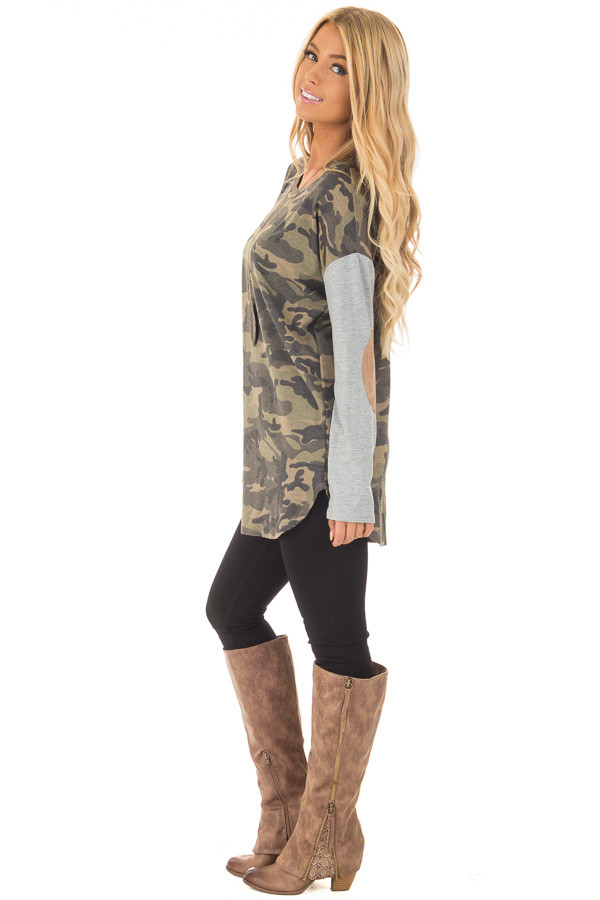 Camouflage Long Sleeve T-Shirt with Elbow Patches side full body