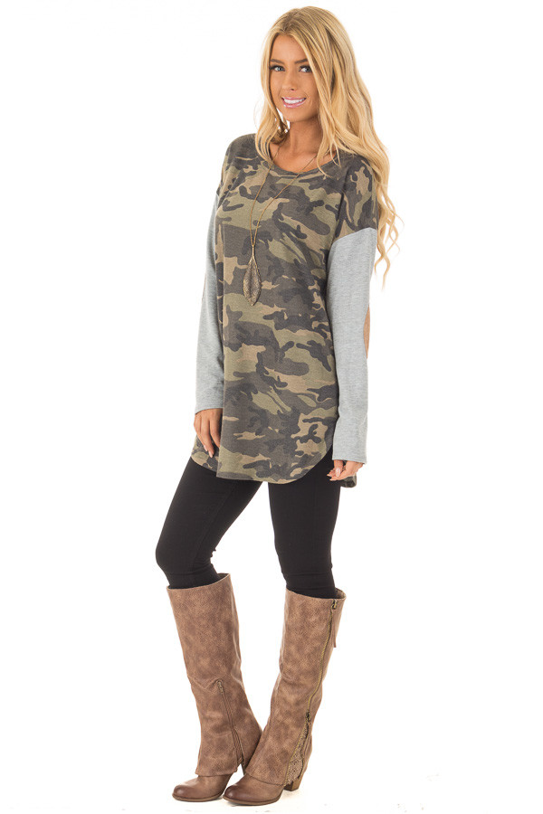 Camouflage Long Sleeve T-Shirt with Elbow Patches front side full body