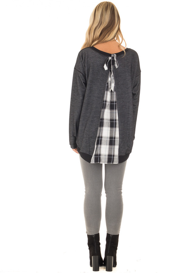 Charcoal Top with Plaid Contrast and Bow Detail back full body