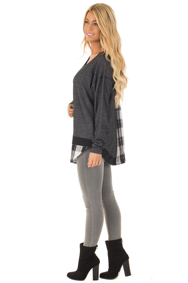 Charcoal Top with Plaid Contrast and Bow Detail side full body