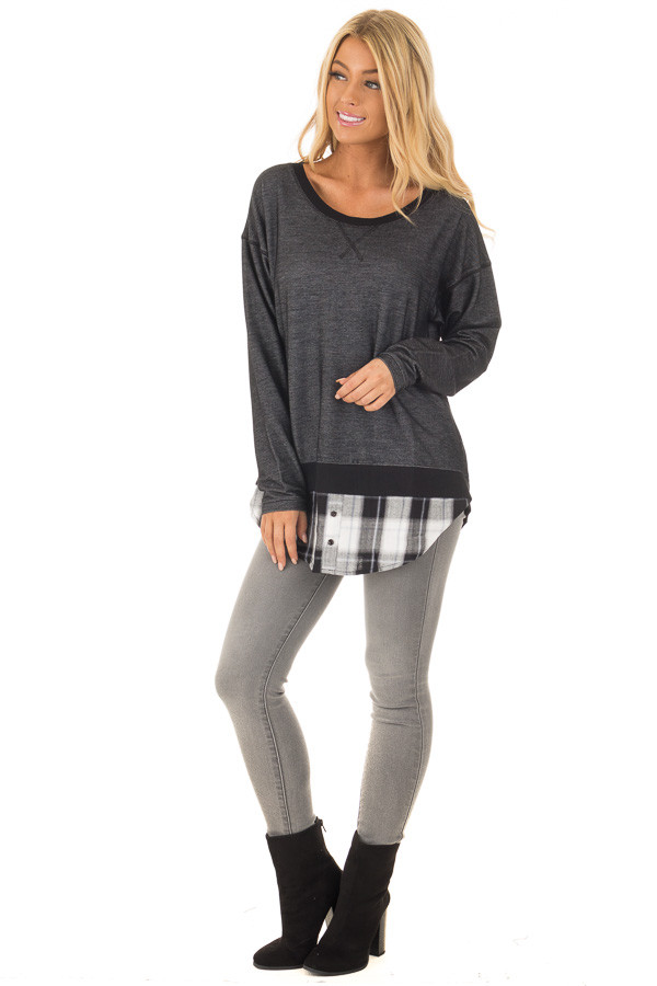 Charcoal Top with Plaid Contrast and Bow Detail front full body