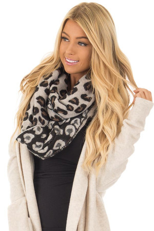 Black Ivory and Camel Soft Leopard Print Scarf front close up