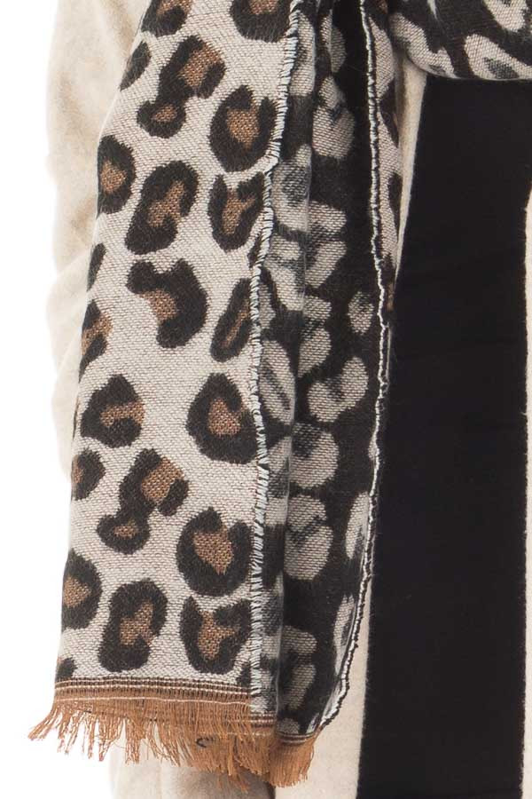 Black Ivory and Camel Soft Leopard Print Scarf detail