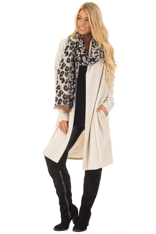 Black Ivory and Camel Soft Leopard Print Scarf front full body