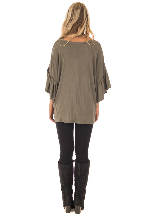 Olive Ribbed Knit Oversized Tee with Butterfly Sleeves back full body