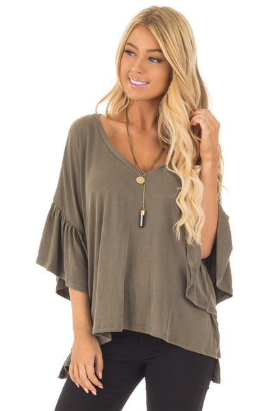 Olive Ribbed Knit Oversized Tee with Butterfly Sleeves front close up