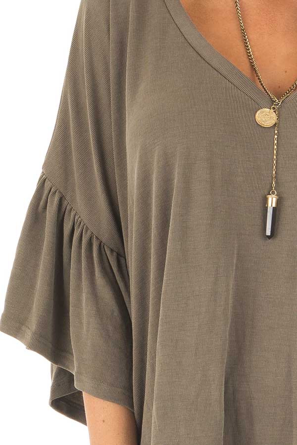 Olive Ribbed Knit Oversized Tee with Butterfly Sleeves detail