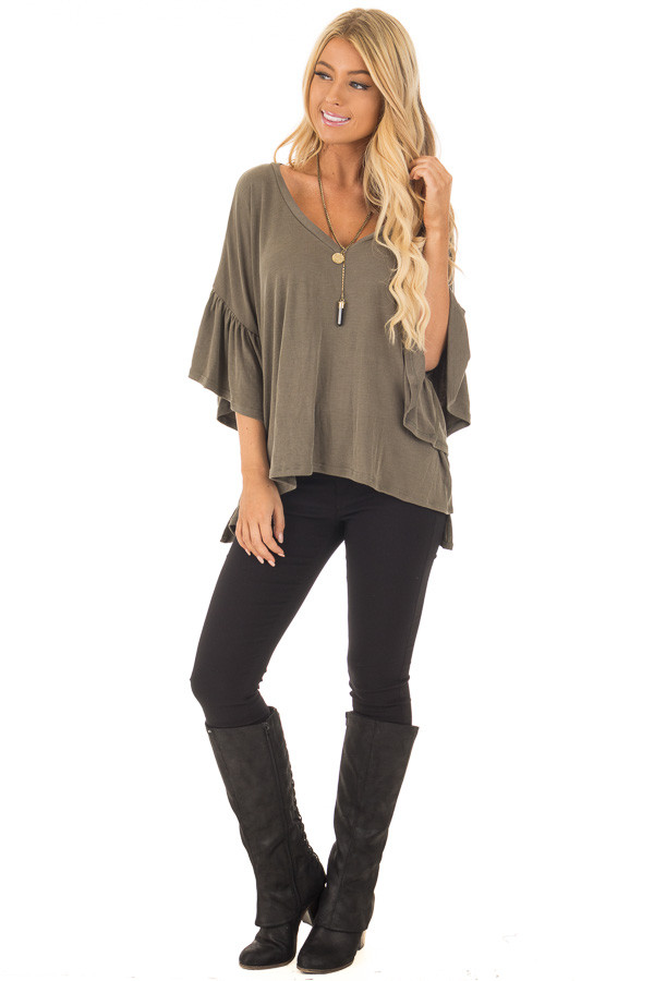 Olive Ribbed Knit Oversized Tee with Butterfly Sleeves front full body