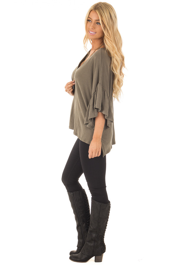 Olive Ribbed Knit Oversized Tee with Butterfly Sleeves side full body