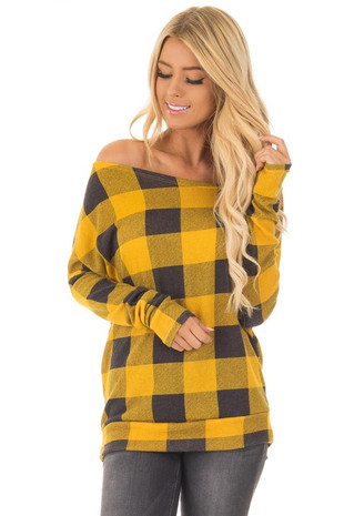 Mustard and Charcoal Plaid Off Shoulder Knit Top front close up