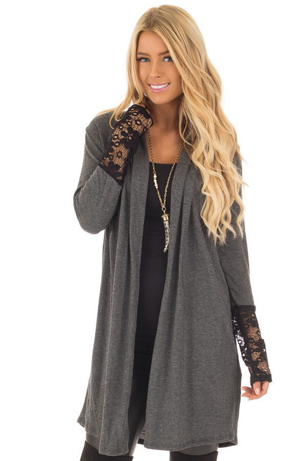 Charcoal Cardigan with Black Sheer Lace Details front close up