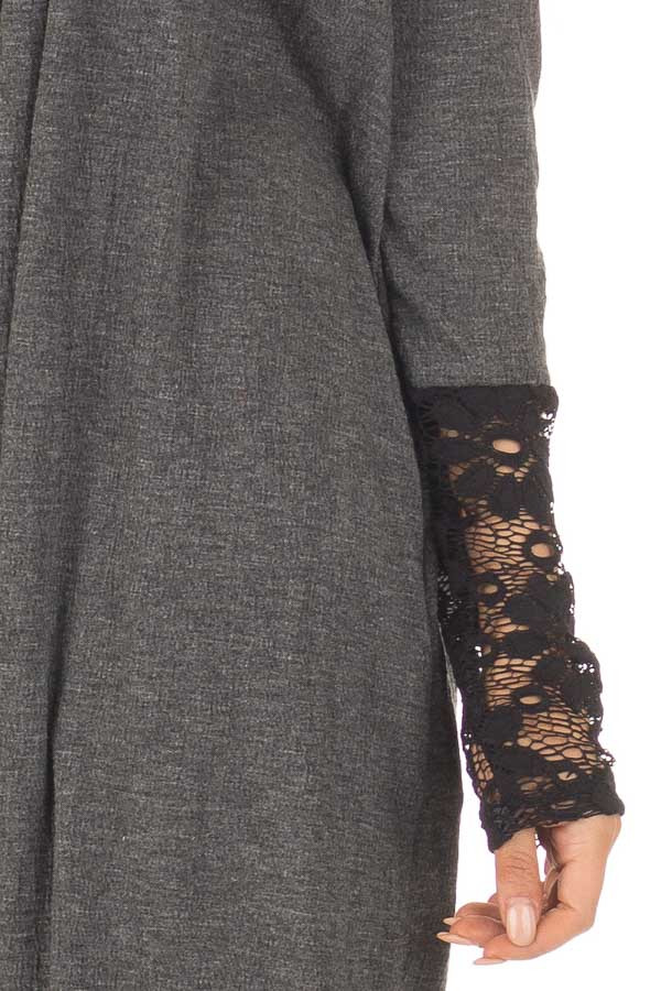 Charcoal Cardigan with Black Sheer Lace Details detail