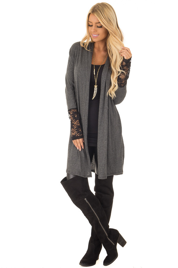 Charcoal Cardigan with Black Sheer Lace Details front full body