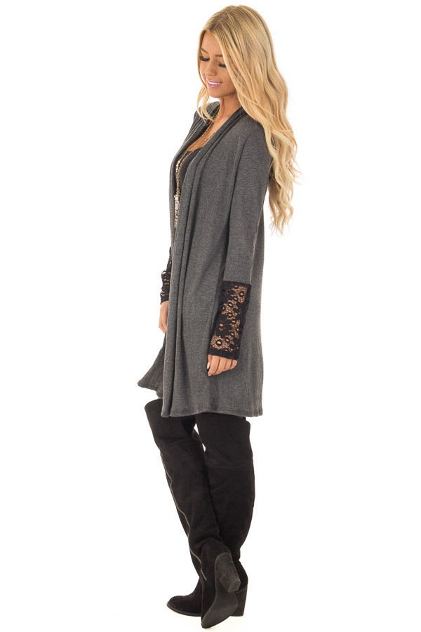 Charcoal Cardigan with Black Sheer Lace Details side full body