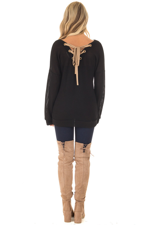 Black Reversible Sweater with Faux Suede Lace Up Neckline back full body