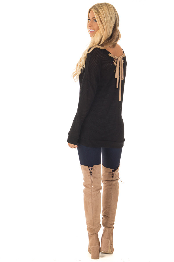 Black Reversible Sweater with Faux Suede Lace Up Neckline back side full body