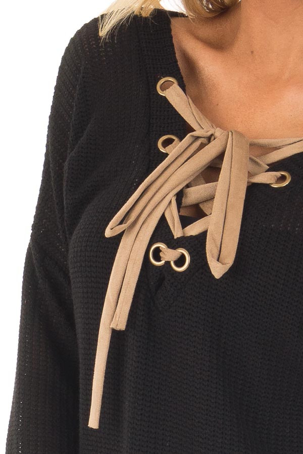Black Reversible Sweater with Faux Suede Lace Up Neckline detail