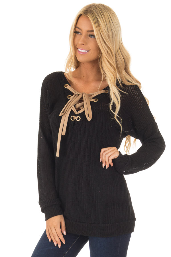 Black Reversible Sweater with Faux Suede Lace Up Neckline front close up