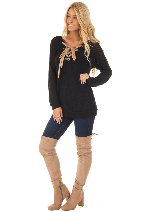Black Reversible Sweater with Faux Suede Lace Up Neckline front full body