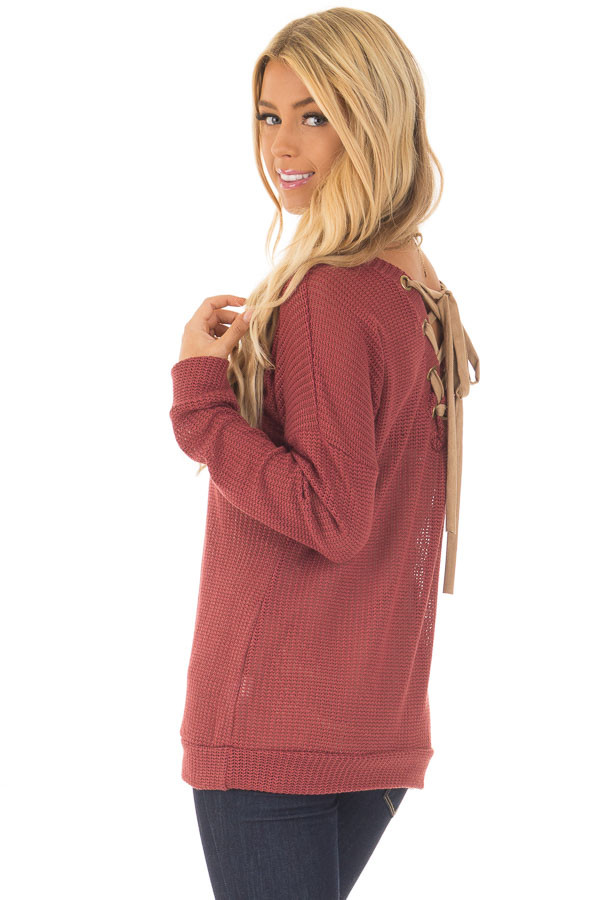 Brick Reversible Sweater with Faux Suede Lace Up Neckline back side close up