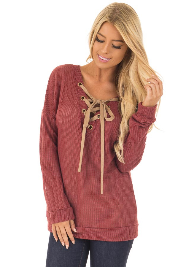 Brick Reversible Sweater with Faux Suede Lace Up Neckline front close up