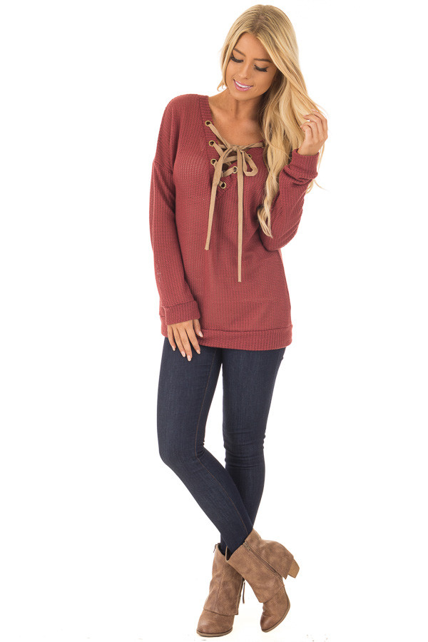 Brick Reversible Sweater with Faux Suede Lace Up Neckline front full body
