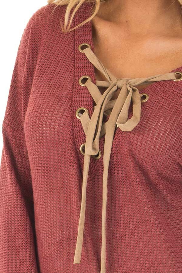 Brick Reversible Sweater with Faux Suede Lace Up Neckline detail