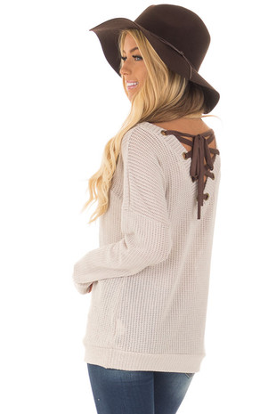 Taupe Reversible Sweater with Faux Suede Lace Up Neckline back side close up