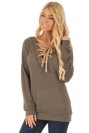 Olive Reversible Sweater with Faux Suede Lace Up Neckline front close up
