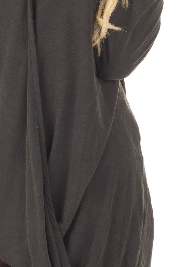 Black Crossover Drape Top with Cut Out Neckline detail