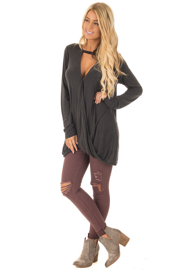Black Crossover Drape Top with Cut Out Neckline front full body