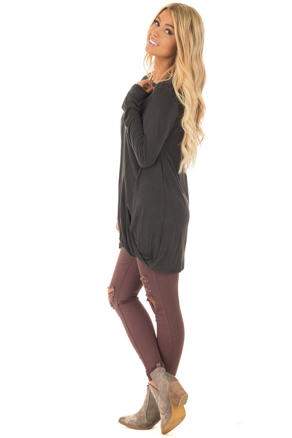 Black Crossover Drape Top with Cut Out Neckline side full body