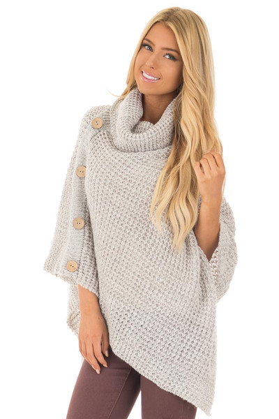 Grey Knit Turtle Neck Poncho with Button Details front close up