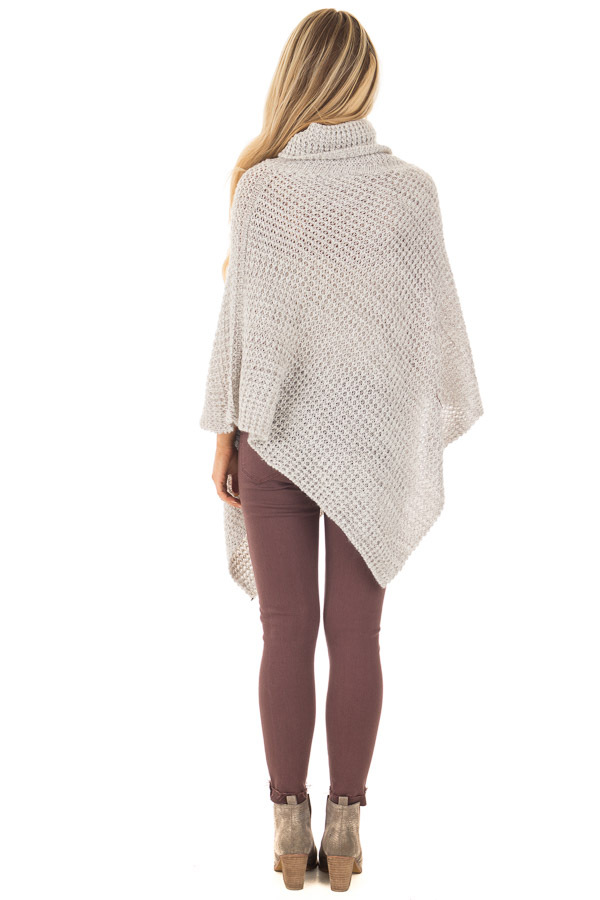 Grey Knit Turtle Neck Poncho with Button Details back full body