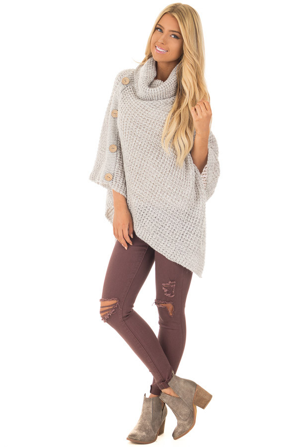 Grey Knit Turtle Neck Poncho with Button Details front full body