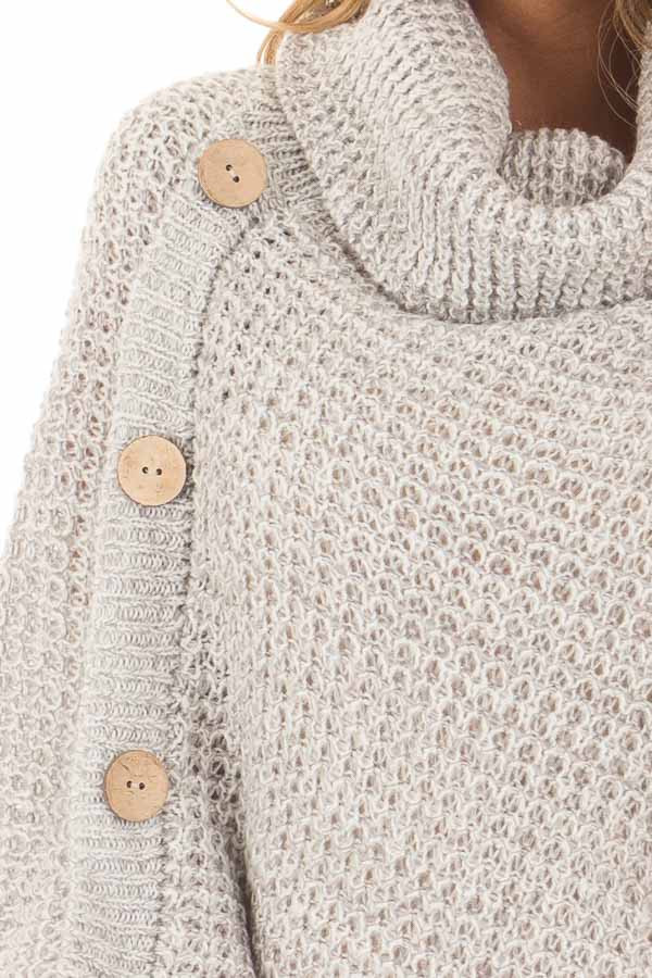 Grey Knit Turtle Neck Poncho with Button Details