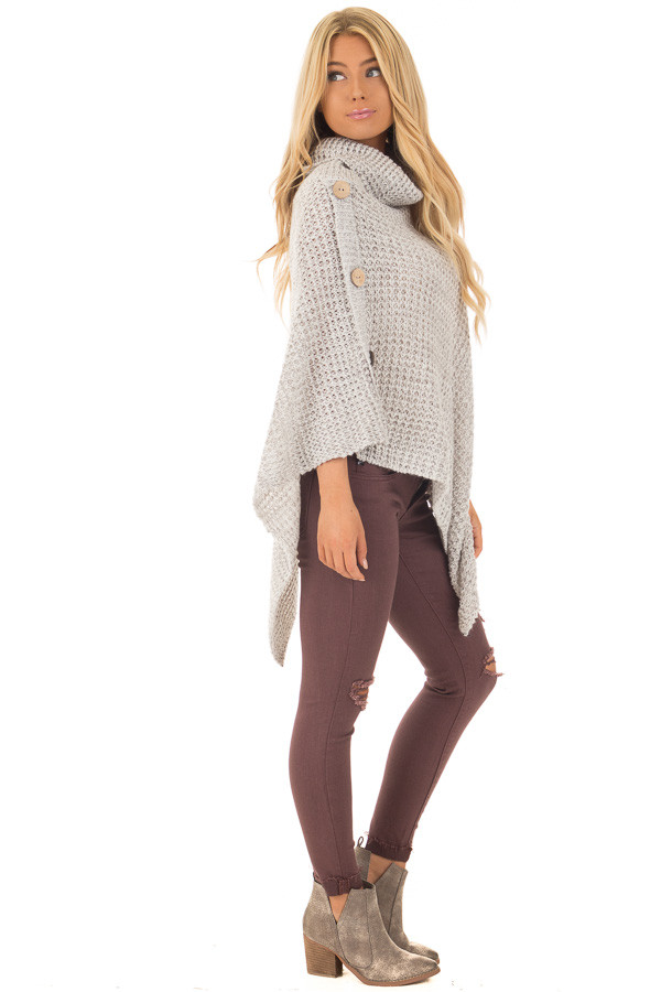 Grey Knit Turtle Neck Poncho with Button Details side full body