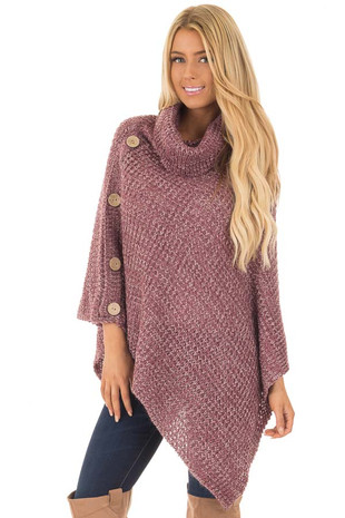 Berry Knit Turtle Neck Poncho with Button Details front close up
