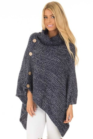Navy Knit Turtle Neck Poncho with Button Details front close up