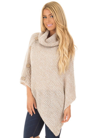 Taupe Knit Turtle Neck Poncho with Button Details front close up
